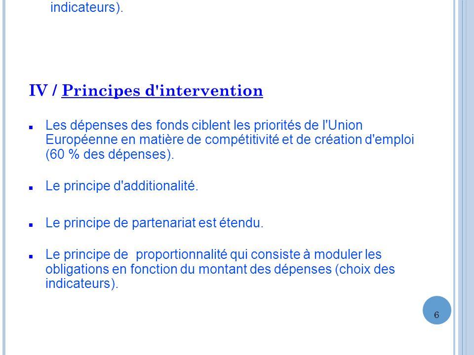 IV / Principes d'intervention Les dépenses des fonds ciblent les priorités de l'Union Européenne en matière de compétitivité et de création d'emploi (