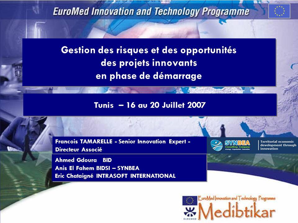 Gestion des risques et des opportunités des projets innovants en phase de démarrage Tunis – 16 au 20 Juillet 2007 Francois TAMARELLE - Senior Innovati