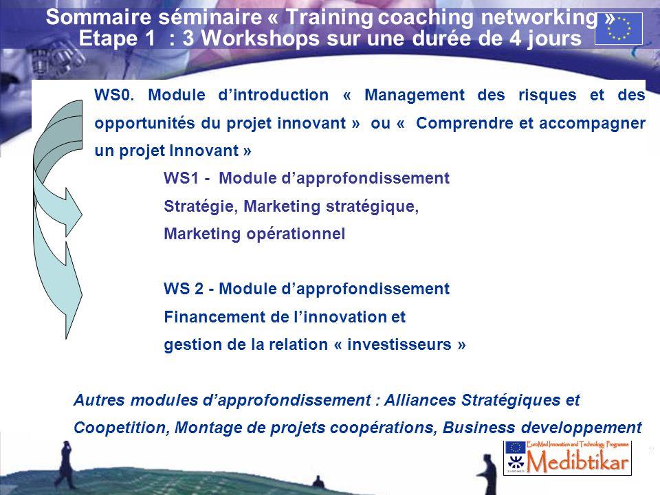 2 Sommaire séminaire « Training coaching networking » Etape 1 : 3 Workshops sur une durée de 4 jours WS0. Module dintroduction « Management des risque