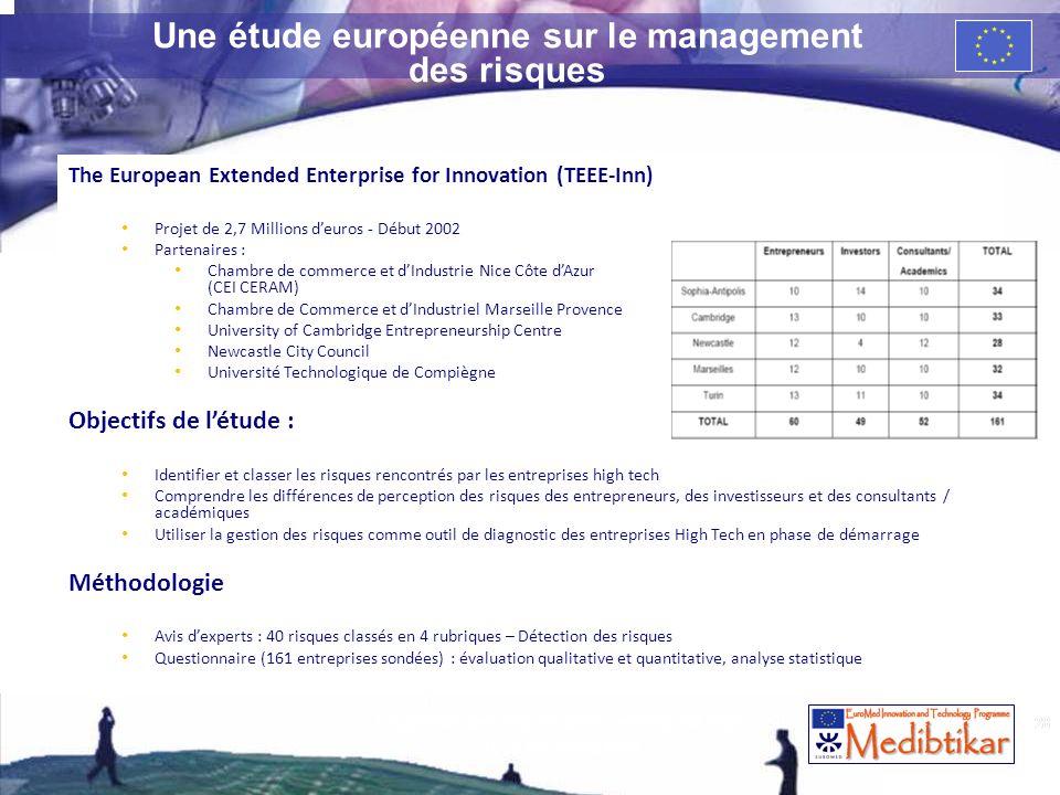 28 Une étude européenne sur le management des risques The European Extended Enterprise for Innovation (TEEE-Inn) Projet de 2,7 Millions deuros - Début