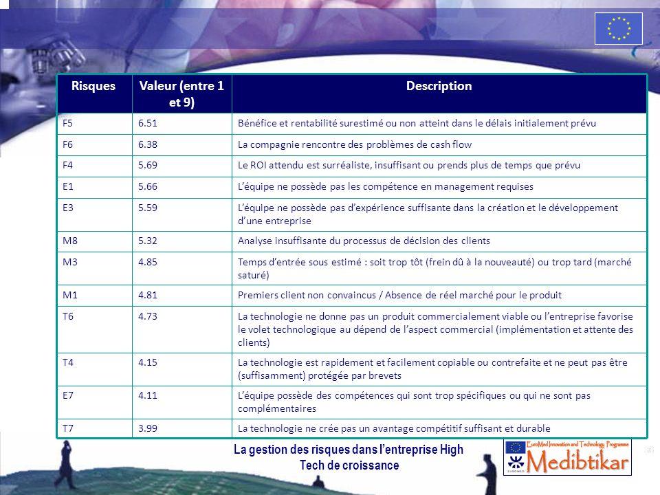36 RisquesValeur (entre 1 et 9) Description F56.51Bénéfice et rentabilité surestimé ou non atteint dans le délais initialement prévu F66.38La compagni