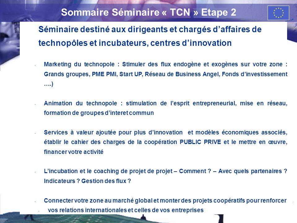4 Sommaire Séminaire « TCN » Etape 2 Séminaire destiné aux dirigeants et chargés daffaires de technopôles et incubateurs, centres dinnovation Marketin