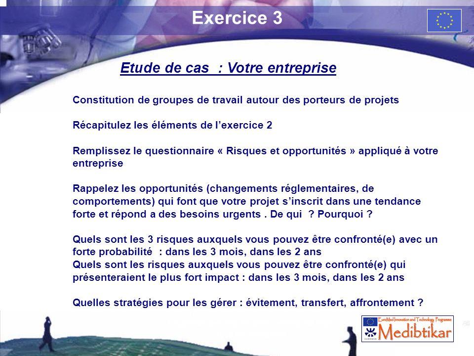 46 Exercice 3 Etude de cas : Votre entreprise Constitution de groupes de travail autour des porteurs de projets Récapitulez les éléments de lexercice