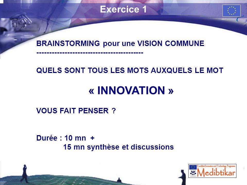 5 Exercice 1 BRAINSTORMING pour une VISION COMMUNE ------------------------------------------ QUELS SONT TOUS LES MOTS AUXQUELS LE MOT « INNOVATION »