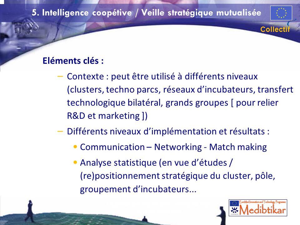 60 5. Intelligence coopétive / Veille stratégique mutualisée Eléments clés : – Contexte : peut être utilisé à différents niveaux (clusters, techno par