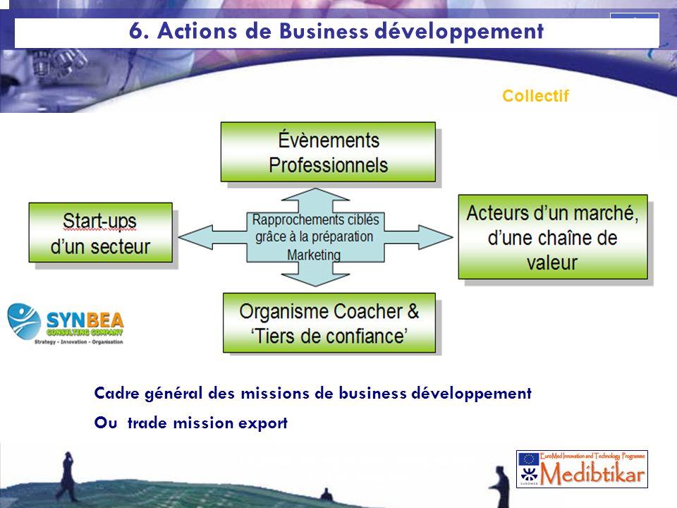 67 Cadre général des missions de business développement Ou trade mission export 6. Actions de Business développement Collectif 67 La gestion des risqu