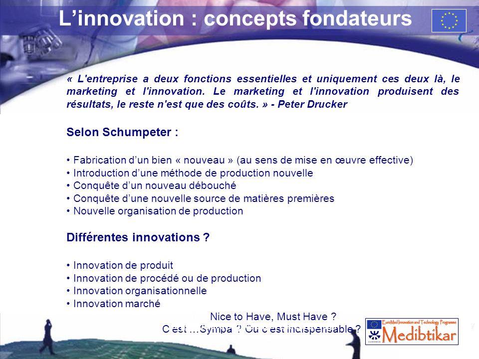 7 Linnovation : concepts fondateurs « L'entreprise a deux fonctions essentielles et uniquement ces deux là, le marketing et l'innovation. Le marketing