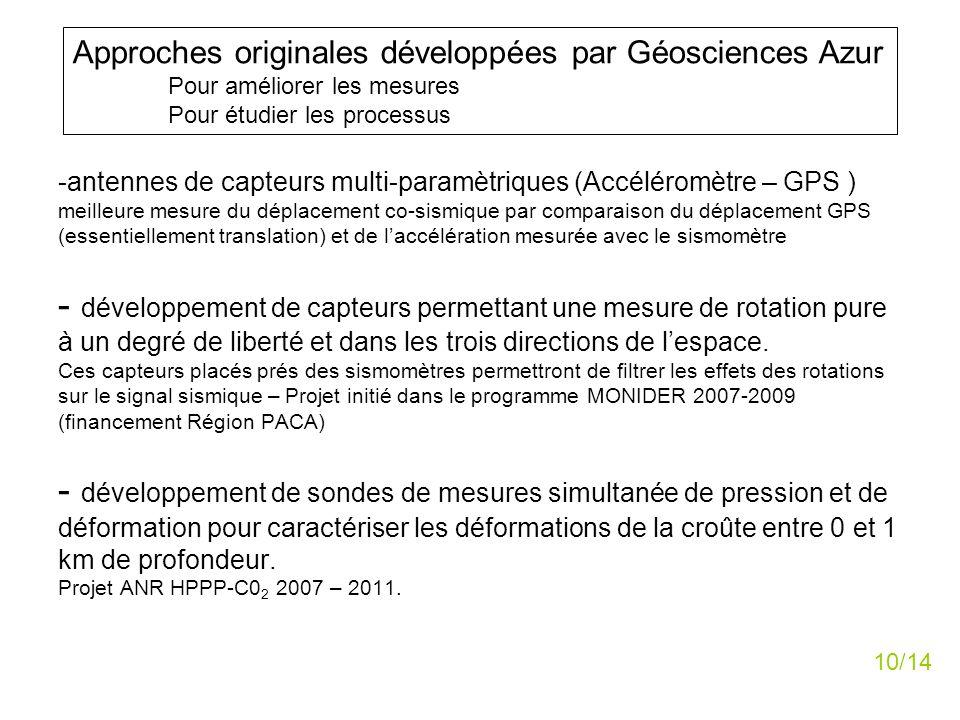 -antennes de capteurs multi-paramètriques (Accéléromètre – GPS ) meilleure mesure du déplacement co-sismique par comparaison du déplacement GPS (essen