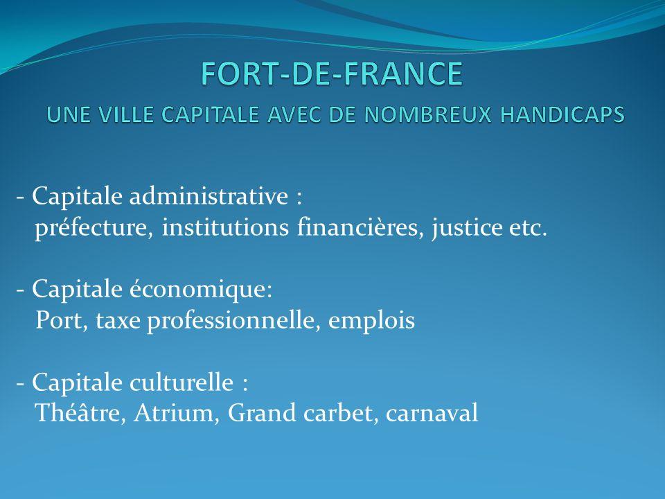 - Capitale administrative : préfecture, institutions financières, justice etc. - Capitale économique: Port, taxe professionnelle, emplois - Capitale c