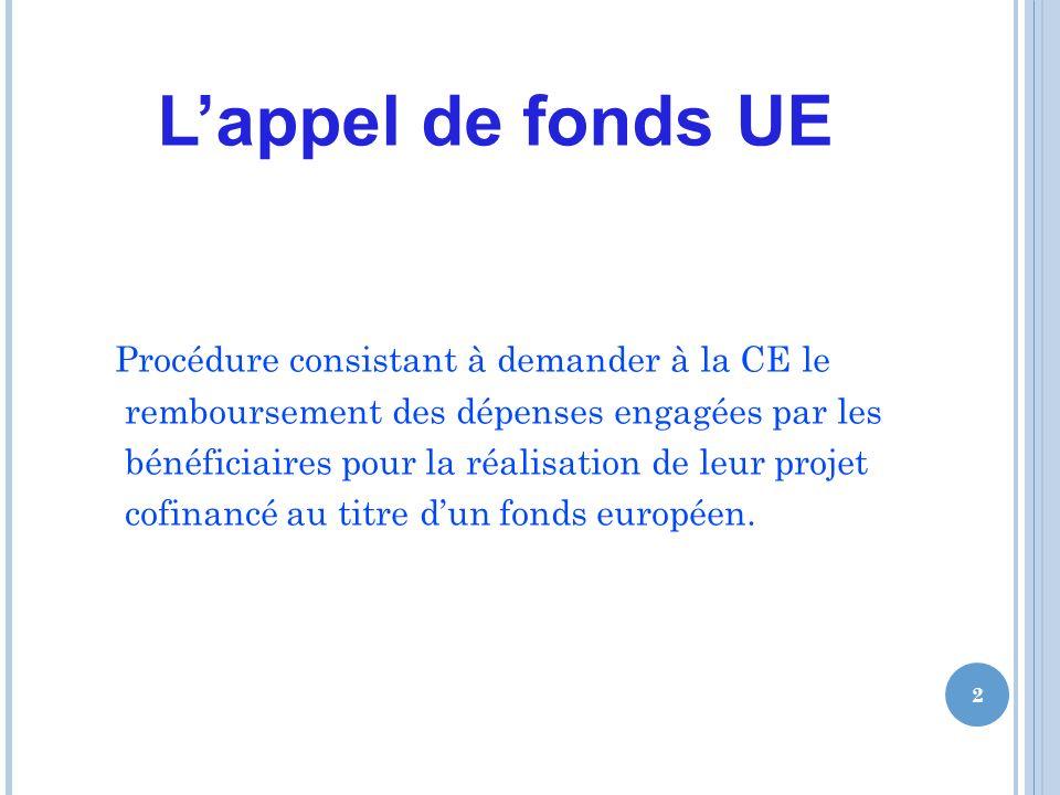 Lappel de fonds UE Procédure consistant à demander à la CE le remboursement des dépenses engagées par les bénéficiaires pour la réalisation de leur projet cofinancé au titre dun fonds européen.