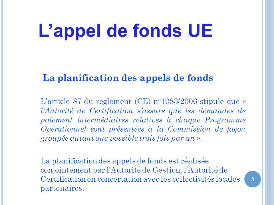 Lappel de fonds UE La planification des appels de fonds Larticle 87 du règlement (CE) n°1083/2006 stipule que « lAutorité de Certification sassure que les demandes de paiement intermédiaires relatives à chaque Programme Opérationnel sont présentées à la Commission de façon groupée autant que possible trois fois par an ».