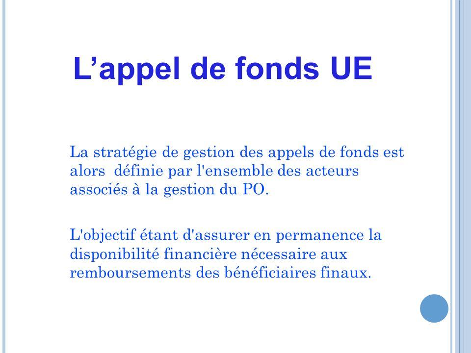 Lappel de fonds UE La stratégie de gestion des appels de fonds est alors définie par l ensemble des acteurs associés à la gestion du PO.