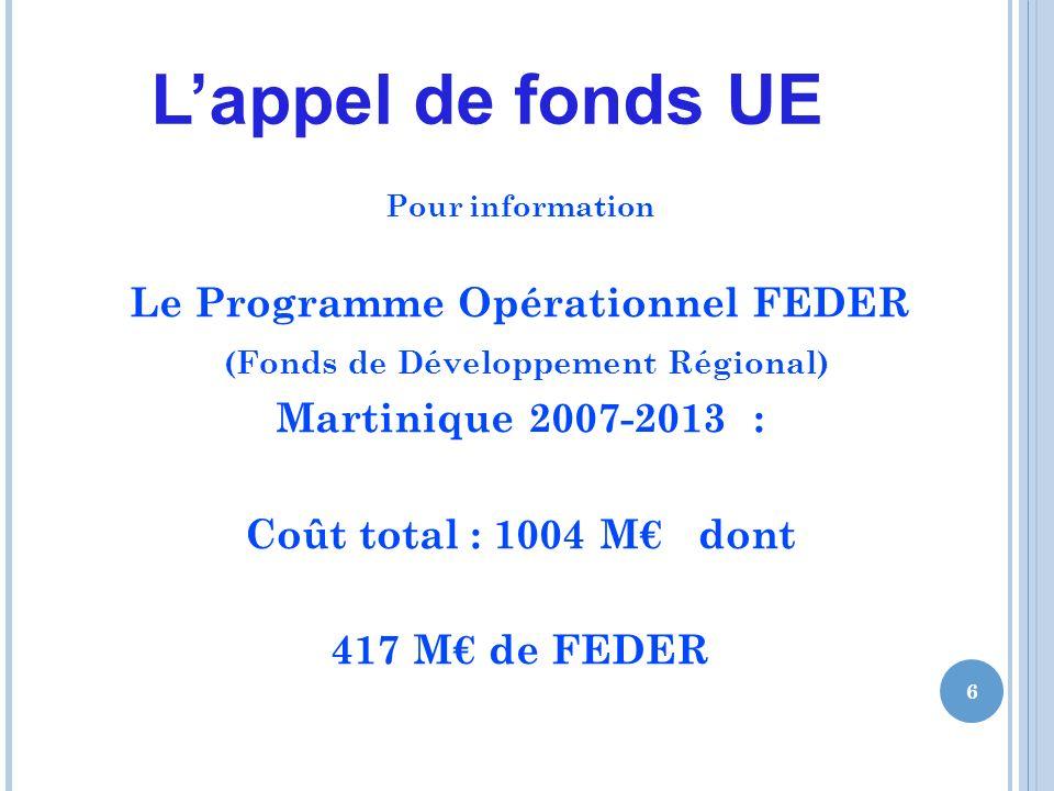 Lappel de fonds UE Pour information Le Programme Opérationnel FEDER (Fonds de Développement Régional) Martinique 2007-2013 : Coût total : 1004 M dont 417 M de FEDER 6