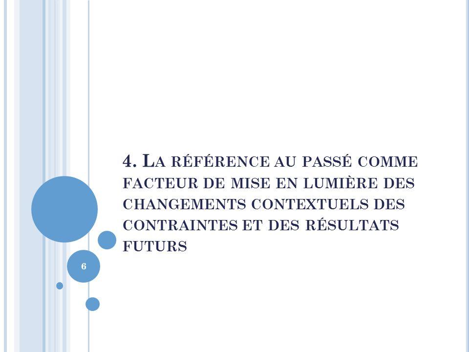 4. L A RÉFÉRENCE AU PASSÉ COMME FACTEUR DE MISE EN LUMIÈRE DES CHANGEMENTS CONTEXTUELS DES CONTRAINTES ET DES RÉSULTATS FUTURS 6
