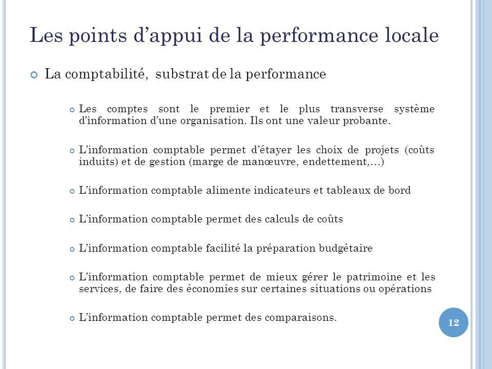 12 Les points dappui de la performance locale La comptabilité, substrat de la performance Les comptes sont le premier et le plus transverse système dinformation dune organisation.