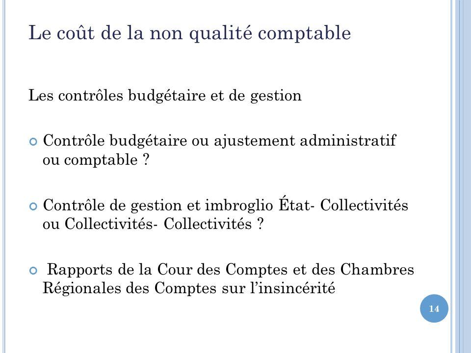 14 Le coût de la non qualité comptable Les contrôles budgétaire et de gestion Contrôle budgétaire ou ajustement administratif ou comptable .