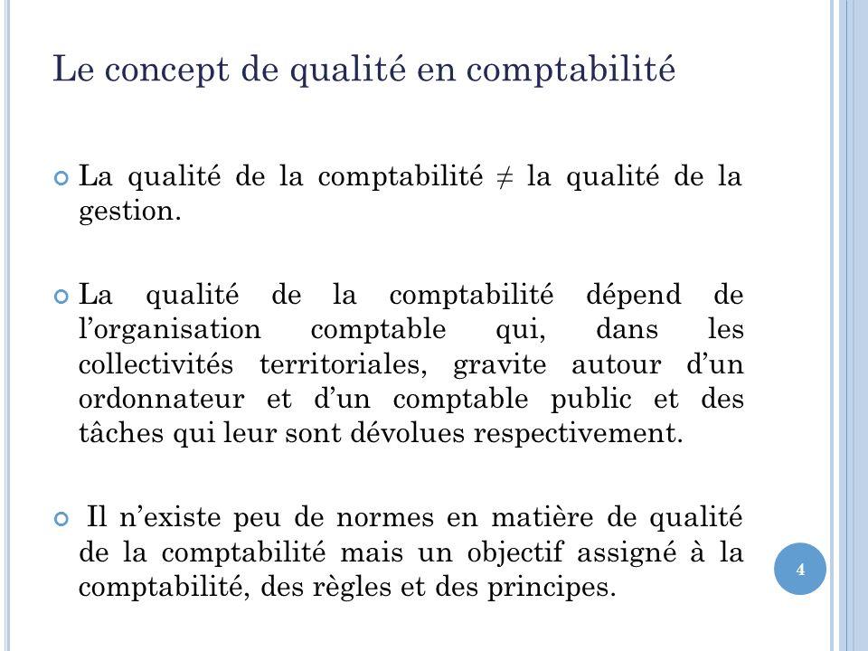 4 Le concept de qualité en comptabilité La qualité de la comptabilité la qualité de la gestion.