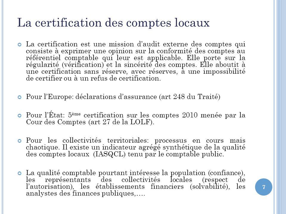 7 La certification des comptes locaux La certification est une mission daudit externe des comptes qui consiste à exprimer une opinion sur la conformité des comptes au référentiel comptable qui leur est applicable.