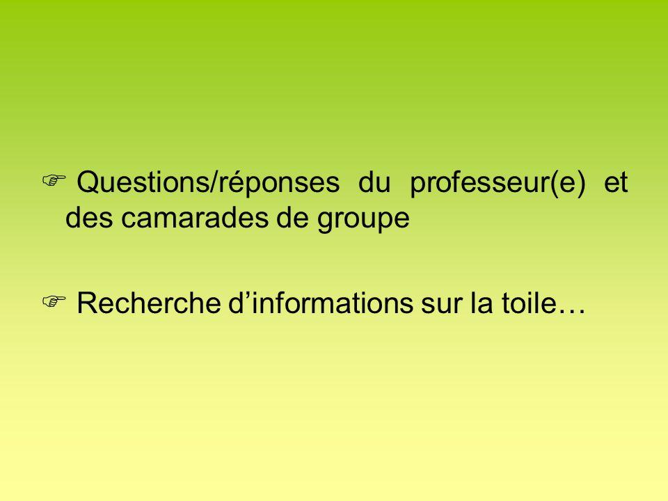 Questions/réponses du professeur(e) et des camarades de groupe Recherche dinformations sur la toile…