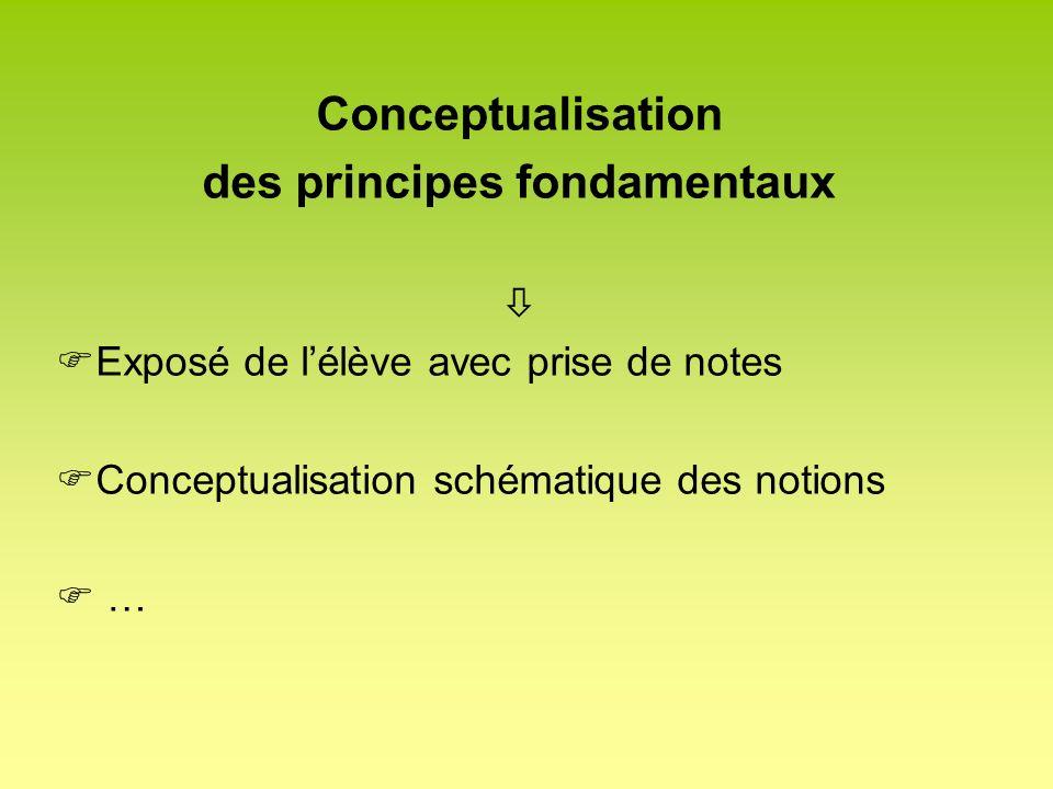 Conceptualisation des principes fondamentaux Exposé de lélève avec prise de notes Conceptualisation schématique des notions …