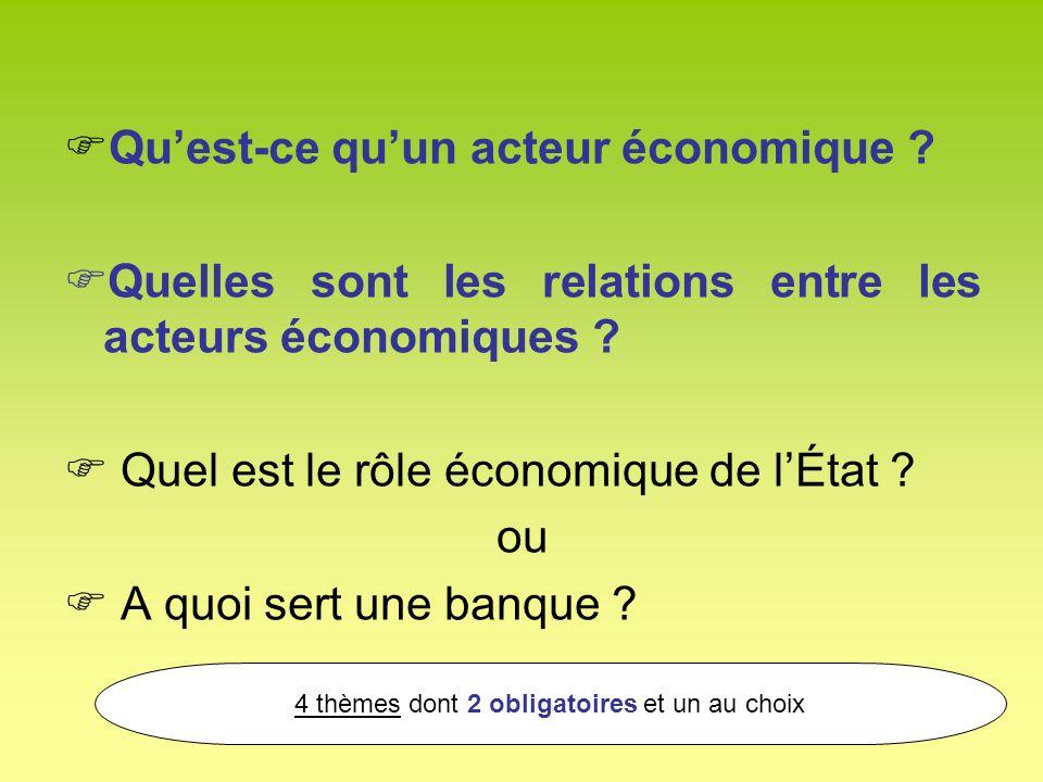 Quest-ce quun acteur économique ? Quelles sont les relations entre les acteurs économiques ? Quel est le rôle économique de lÉtat ? ou A quoi sert une