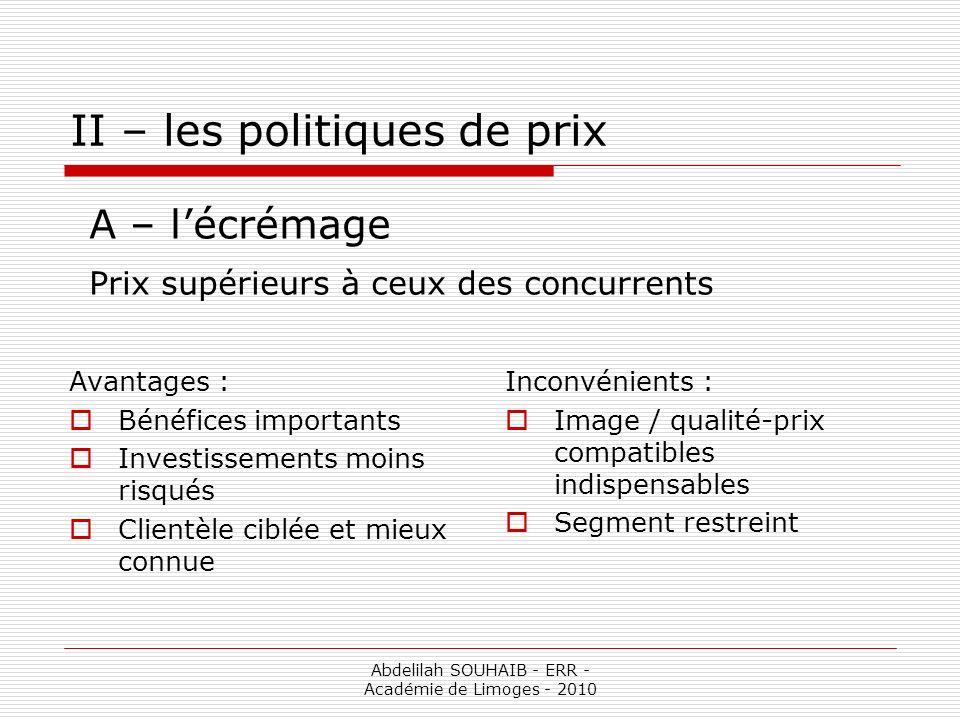 Abdelilah SOUHAIB - ERR - Académie de Limoges - 2010 II – les politiques de prix Avantages : Bénéfices importants Investissements moins risqués Client