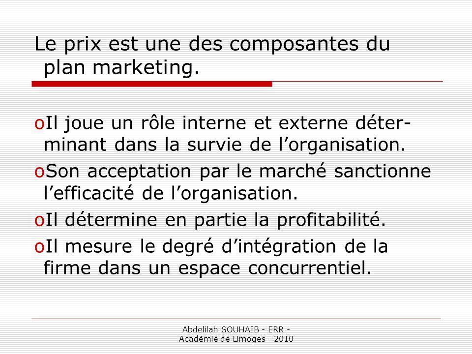 Abdelilah SOUHAIB - ERR - Académie de Limoges - 2010 Le prix est une des composantes du plan marketing. oIl joue un rôle interne et externe déter- min