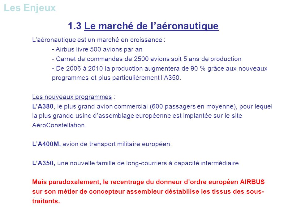 Laéronautique est un marché en croissance : - Airbus livre 500 avions par an - Carnet de commandes de 2500 avions soit 5 ans de production - De 2006 à