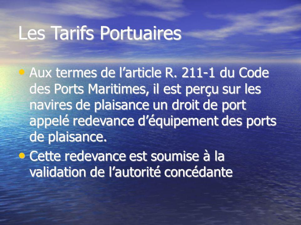 Les Tarifs Portuaires Aux termes de larticle R.