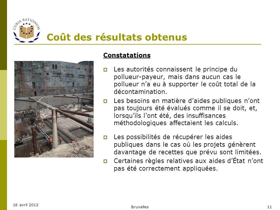 Coût des résultats obtenus Constatations Les autorités connaissent le principe du pollueur-payeur, mais dans aucun cas le pollueur na eu à supporter l
