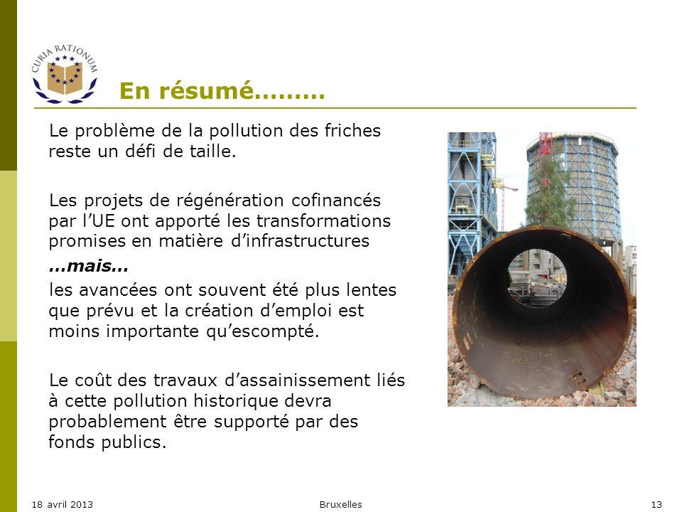 En résumé……… Bruxelles1318 avril 2013 Le problème de la pollution des friches reste un défi de taille. Les projets de régénération cofinancés par lUE