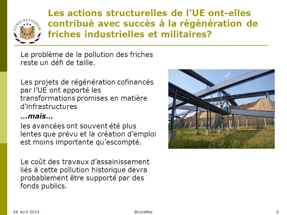 Les actions structurelles de lUE ont-elles contribué avec succès à la régénération de friches industrielles et militaires? Le problème de la pollution