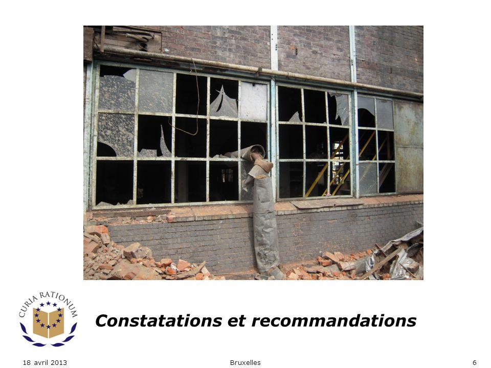 Constatations et recommandations Bruxelles618 avril 2013