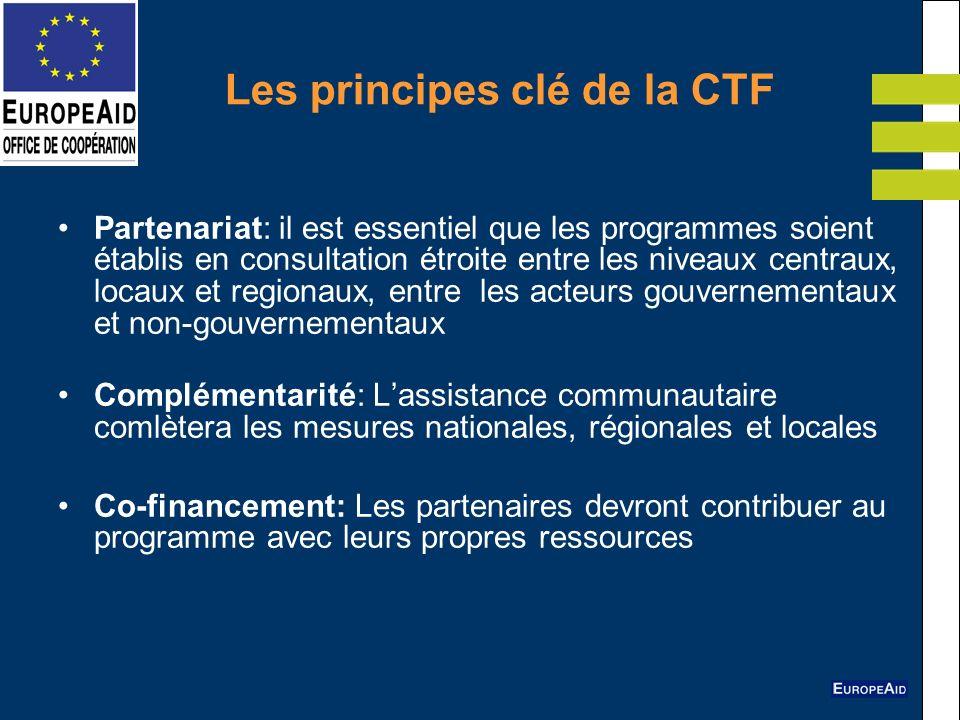 Les principes clé de la CTF Partenariat: il est essentiel que les programmes soient établis en consultation étroite entre les niveaux centraux, locaux