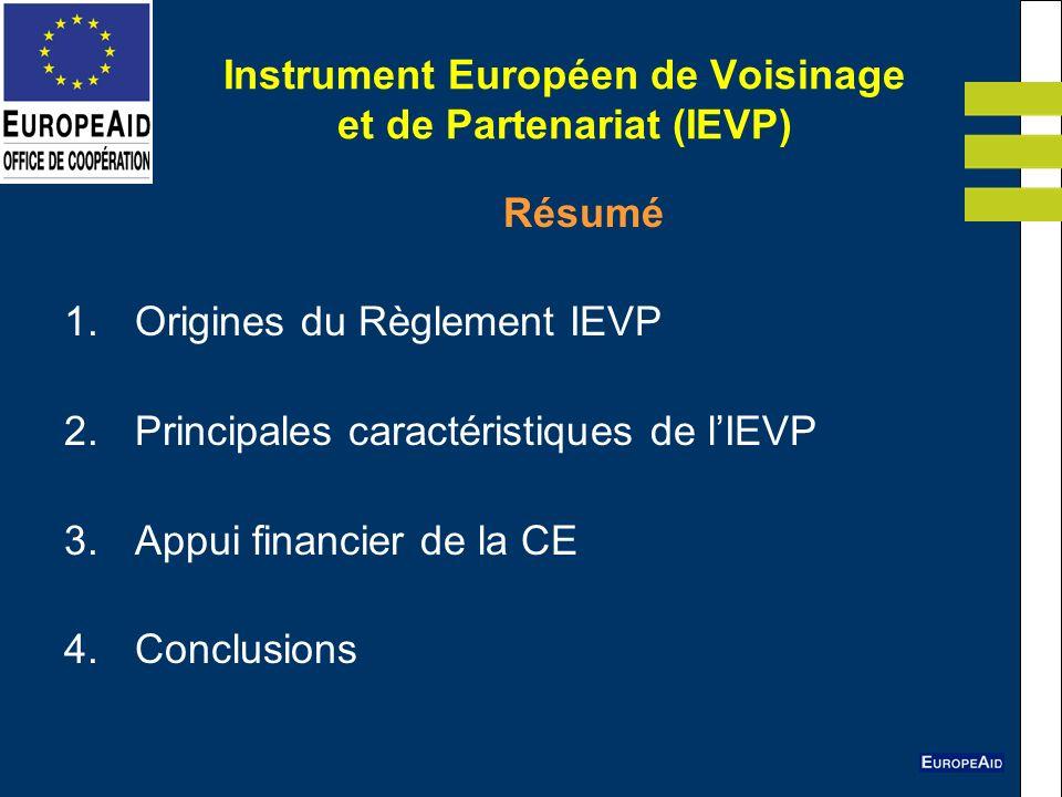 Instrument Européen de Voisinage et de Partenariat (IEVP) Résumé 1.Origines du Règlement IEVP 2.Principales caractéristiques de lIEVP 3.Appui financie