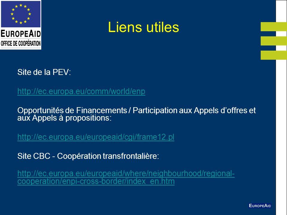 Liens utiles Site de la PEV: http://ec.europa.eu/comm/world/enp Opportunités de Financements / Participation aux Appels doffres et aux Appels à propos
