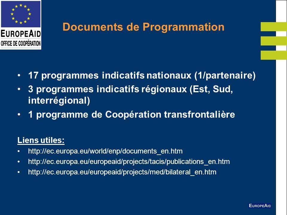 Documents de Programmation 17 programmes indicatifs nationaux (1/partenaire) 3 programmes indicatifs régionaux (Est, Sud, interrégional) 1 programme d