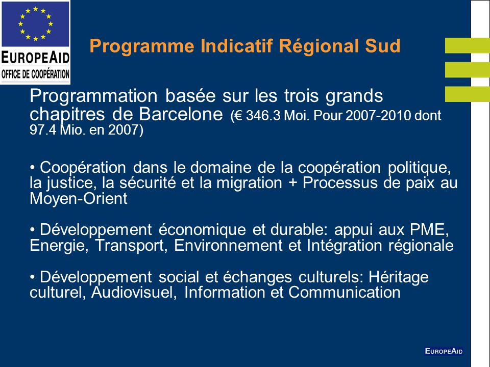 Programme Indicatif Régional Sud Programmation basée sur les trois grands chapitres de Barcelone ( 346.3 Moi. Pour 2007-2010 dont 97.4 Mio. en 2007) C