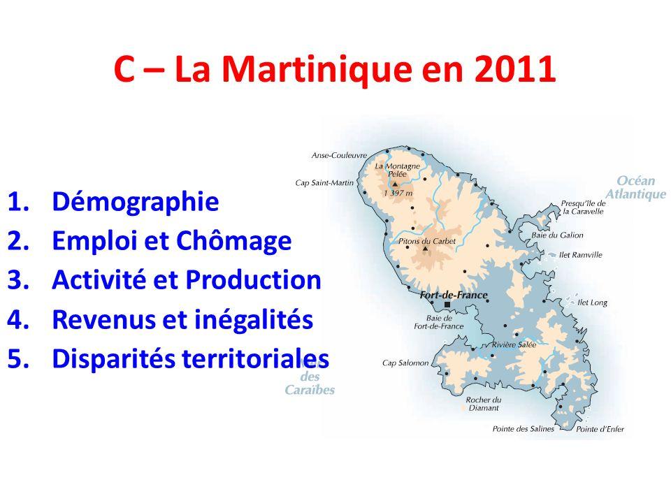 C – La Martinique en 2011 1.Démographie 2.Emploi et Chômage 3.Activité et Production 4.Revenus et inégalités 5.Disparités territoriales
