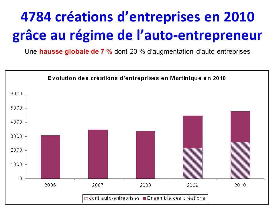 4784 créations dentreprises en 2010 grâce au régime de lauto-entrepreneur Une hausse globale de 7 % dont 20 % daugmentation dauto-entreprises