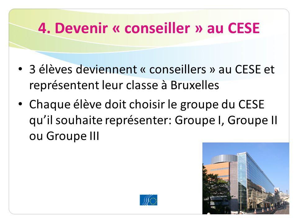 4. Devenir « conseiller » au CESE 3 élèves deviennent « conseillers » au CESE et représentent leur classe à Bruxelles Chaque élève doit choisir le gro
