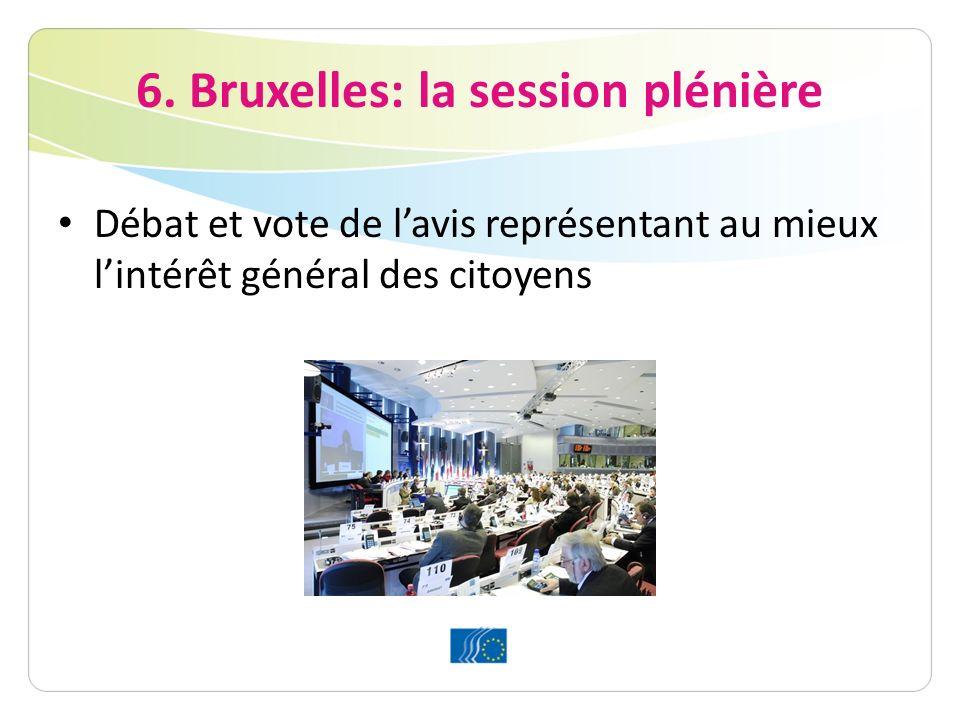 6. Bruxelles: la session plénière Débat et vote de lavis représentant au mieux lintérêt général des citoyens
