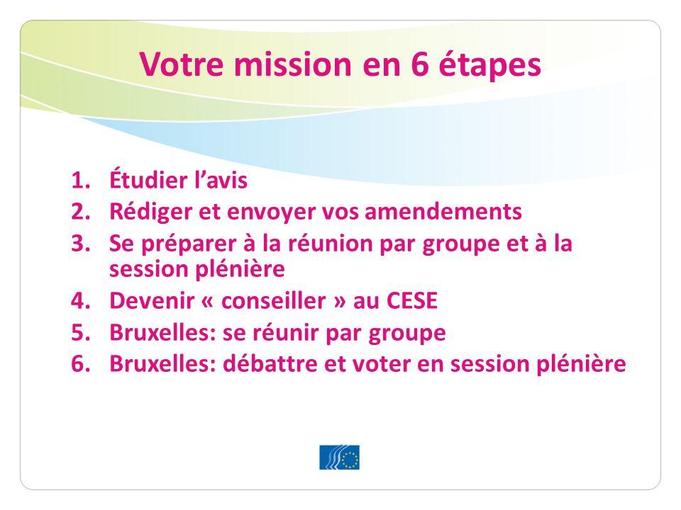 Votre mission en 6 étapes 1.Étudier lavis 2.Rédiger et envoyer vos amendements 3.Se préparer à la réunion par groupe et à la session plénière 4.Devenir « conseiller » au CESE 5.Bruxelles: se réunir par groupe 6.Bruxelles: débattre et voter en session plénière