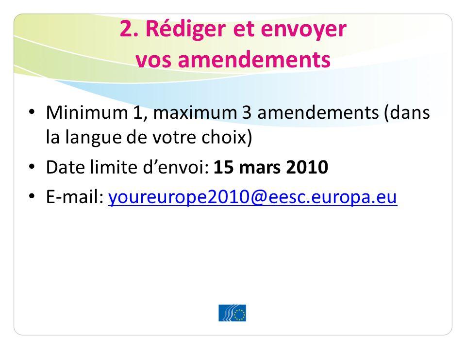 2. Rédiger et envoyer vos amendements Minimum 1, maximum 3 amendements (dans la langue de votre choix) Date limite denvoi: 15 mars 2010 E-mail: youreu