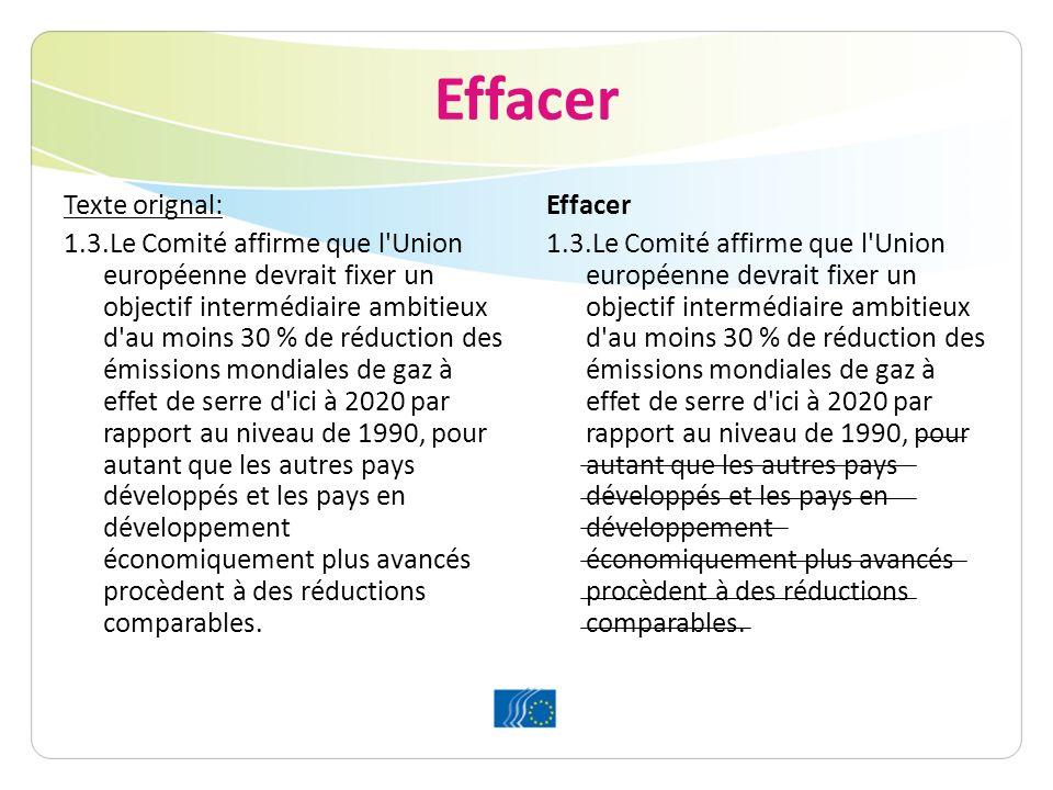 Effacer Texte orignal: 1.3.Le Comité affirme que l Union européenne devrait fixer un objectif intermédiaire ambitieux d au moins 30 % de réduction des émissions mondiales de gaz à effet de serre d ici à 2020 par rapport au niveau de 1990, pour autant que les autres pays développés et les pays en développement économiquement plus avancés procèdent à des réductions comparables.