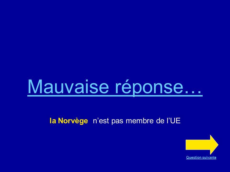 Bonne réponse !!! La Norvège nest pas membre de lUE Question suivante