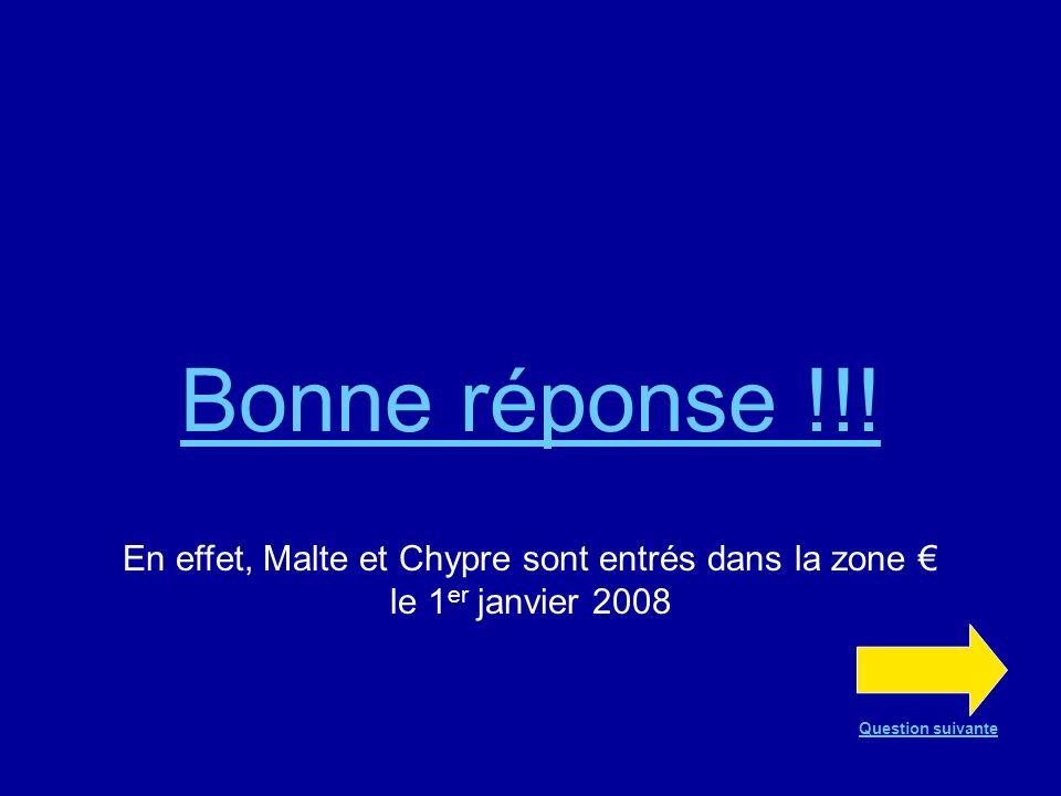 Question n°18 VRAI ou FAUX ? Depuis le 1 er janvier 2008, Malte et Chypre font partie de la zone VRAI FAUX