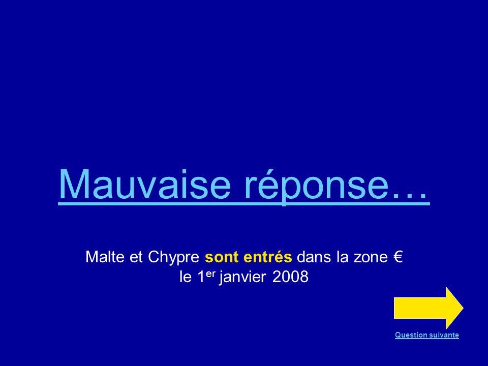 Bonne réponse !!! En effet, Malte et Chypre sont entrés dans la zone le 1 er janvier 2008 Question suivante