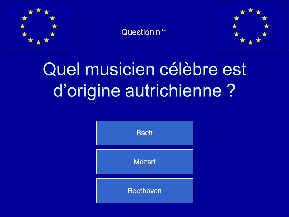 Question n°1 Quel musicien célèbre est dorigine autrichienne ? Bach Mozart Beethoven