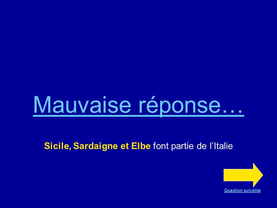 Bonne réponse !!! Sicile, Sardaigne et Elbe Question suivante